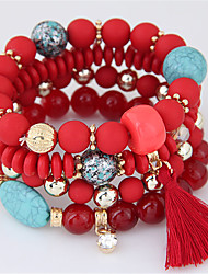 cheap -Women's Bead Bracelet Beads Tassel Bohemian European Resin Bracelet Jewelry Orange / Red / Light Blue For Party Gift