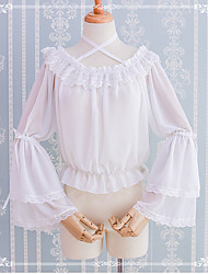 cheap -Vintage Gothic Lolita Blouse / Shirt Male Lace Japanese Cosplay Costumes White / Black Lace Flare Sleeve Long Sleeve