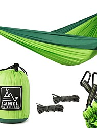 cheap -Camping Hammock Double Hammock Outdoor Portable Breathable Ultra Light (UL) Parachute Nylon with Carabiners and Tree Straps for 2 person Camping / Hiking Hunting Fishing Blue Green Gray 300*200 cm