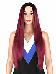 cheap -Hair Care Human Hair Extensions Ombre Afro kinky Straight Free Part Wig Burgundy Long Black / Burgundy Synthetic Hair 28 inch Women's Women Synthetic Extention Burgundy