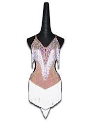 cheap -Latin Dance Dresses Women's Performance Spandex Glitter / Acrylic Jewels / Tassel Sleeveless Dress