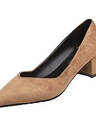 cheap -Women's Heels Chunky Heel Pointed Toe PU Spring Black / Brown / Beige