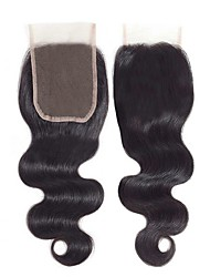 cheap -Brazilian Hair / Mongolian Hair 4x4 Closure / Free Part Wavy Free Part Swiss Lace Human Hair Women's Smooth / Adorable / Best Quality Date / Baby Shower / Beauty Therapy / Black
