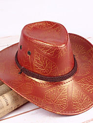 cheap -Westworld West Cowboy Cowboy Costumes Adults' Men's Hat Casual Christmas Halloween Carnival Festival / Holiday Leather Coffee / Brown / Red+Black Carnival Costumes Printing
