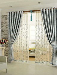 cheap -Mediterranean Blackout Curtains Drapes Two Panels Curtain / Jacquard / Dining Room