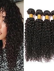 cheap -4 Bundles Brazilian Hair Kinky Curly Virgin Human Hair Headpiece Natural Color Hair Weaves / Hair Bulk Hair Care 8-28inch Natural Color Human Hair Weaves Classic Best Quality New Arrival Human Hair