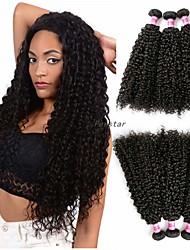 Недорогие -3 Связки Бразильские волосы Kinky Curly Не подвергавшиеся окрашиванию 300 g Человека ткет Волосы Аксессуары для костюмов Пучок волос 8-28 дюймовый Естественный цвет Ткет человеческих волос