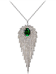 cheap -Women's Green Crystal High End Crystal Pendant Necklace Singapore Eyes Luxury Trendy Fashion Silver Plated Imitation Diamond Silver 45 cm Necklace Jewelry 1pc For Evening Party Formal