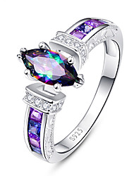 cheap -Women's Ring Cubic Zirconia Amethyst 1pc Rainbow Copper Silver-Plated Geometric Luxury Unique Design Wedding Party Jewelry Classic Flower Cool Lovely