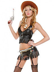 cheap -Westworld West Cowboy Cowboy Costumes Adults' Women's Outfits Christmas Halloween Carnival Festival / Holiday PVC(PolyVinyl Chloride) Black Carnival Costumes Tassel