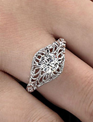 cheap -Women's Ring Synthetic Diamond 1pc White Copper Silver-Plated Geometric Luxury Unique Design Party Gift Jewelry Classic filigree Flower Cool Lovely