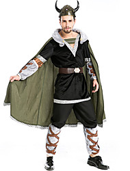 cheap -Pirate Viking Hat Costume Men's Movie Cosplay Cosplay Black Top Pants Belt Halloween Carnival Masquerade Plush Fabric Polyster