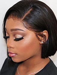 cheap -Human Hair Lace Front Wig Bob Short Bob style Brazilian Hair Silky Straight Black Wig 130% Density Free Shipping with Baby Hair Natural Hairline For Black Women 100% Virgin 100% Hand Tied Women's