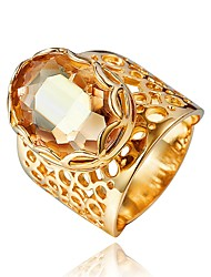 cheap -Women's Ring Cubic Zirconia 1pc Gold 18K Gold Plated Asian Fashion Party Engagement Jewelry Cut Out Artisan