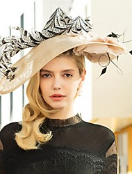 cheap -Flax Kentucky Derby Hat / Headbands with Feather 1pc Wedding / Party / Evening Headpiece