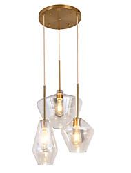 Недорогие -ZHISHU 3-Light 30 cm Творчество / Новый дизайн Подвесные лампы Металл Стекло геометрический / Оригинальные Окрашенные отделки Природа / Ретро 110-120Вольт / 220-240Вольт