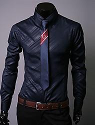 abordables -Chemise Taille EU / US Homme, Couleur Pleine / Graphique Basique / Chic de Rue Col Classique Blanche / Manches Longues / Automne