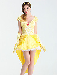 cheap -Belle Cosplay Costume Adults' Women's Dresses Christmas Halloween Carnival Festival / Holiday Satin / Tulle Cotton Yellow Carnival Costumes Princess