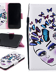 cheap -Case For Apple iPhone XR Wallet / Card Holder / Shockproof Full Body Cases Cat / Butterfly Hard PU Leather