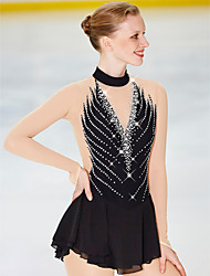 cheap -BHZW Figure Skating Dress Women's Girls' Ice Skating Dress Black Spandex High Elasticity Skating Wear Anatomic Design Classic Crystal / Rhinestone Long Sleeve Ice Skating Figure Skating
