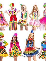cheap -Burlesque Clown Circus Dress Party Costume Adults' Men's Funny & Reluctant Halloween Christmas Halloween Carnival Festival / Holiday Polyster Yellow+Blue / Blue+Green / Fuchsia Carnival Costumes