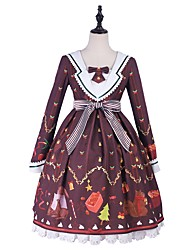 cheap -Sweet Lolita Princess Lolita Lolita Dress Female Japanese Cosplay Costumes Red Flower / Floral Star Bishop Sleeve Long Sleeve Knee Length