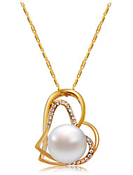 cheap -Women's White Cubic Zirconia Pendant Necklace Figaro Heart Romantic Fashion Elegant Imitation Pearl Gold Plated Chrome Gold 43 cm Necklace Jewelry 1pc For Daily Formal / Imitation Diamond