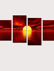 cheap -Print Stretched Canvas Prints - Landscape Photographic Modern Four Panels Art Prints