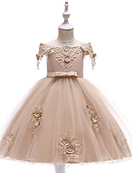 cheap -Princess Above Knee Wedding / Party / Pageant Flower Girl Dresses - Satin / Tulle Short Sleeve Off Shoulder with Lace / Beading / Appliques