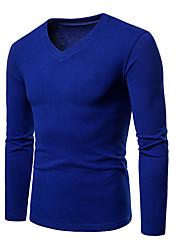 abordables -Tee-shirt Homme, Couleur Pleine Basique / Chic de Rue Col en V Gris Foncé / Manches Longues