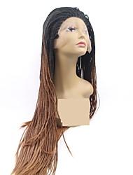 abordables -Perruque Lace Front Synthétique Dreadlocks / Faux Locs Tressé Coupe Dégradée Tressage Lace Frontale Perruque Long Auburn Cheveux Synthétiques 24 pouce Femme Homme Cheveux Colorés Cheveux Tressés Noir