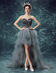 cheap -Black Swan Dress Women's Movie Cosplay Lace Up Wasp-Waisted Vacation Dress Gray Dress Halloween Carnival Masquerade Organza Feathers / Sleeveless