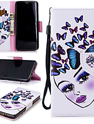 cheap -Case For Samsung Galaxy S9 Wallet / Card Holder / Shockproof Full Body Cases Butterfly / Sexy Lady Hard PU Leather
