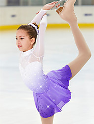 cheap -21Grams Figure Skating Dress Women's Girls' Ice Skating Dress Violet Spandex Stretch Yarn High Elasticity Skating Wear Handmade Crystal / Rhinestone Long Sleeve Ice Skating Figure Skating