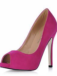 cheap -Women's Suede Fall / Spring & Summer Classic / Minimalism Heels Stiletto Heel Peep Toe Pink / Light Green / Burgundy / Wedding / Party & Evening