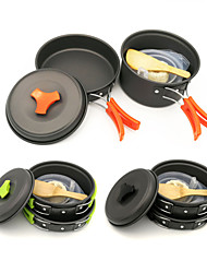 cheap -ARDI® Camping Cookware Mess Kit Camping Pot Camping Fry Pan Dinnerware Set Utensils Lightweight Aluminium Alloy for 1 - 2 person Outdoor Hiking Camping Black Orange Green