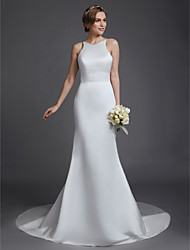 cheap -Mermaid / Trumpet Wedding Dresses Jewel Neck Court Train Satin Sleeveless Beautiful Back with Buttons 2021