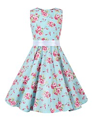 cheap -Audrey Hepburn Floral Style Vintage Vintage Inspired Hepburn Dress JSK / Jumper Skirt Girls' Kid's Costume Blue Vintage Cosplay Party / Evening Family Gathering Festival Sleeveless Above Knee Knee