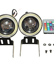 cheap -Wireless Control 3.5inch LED RGB Color Fog Lights White Angel Eye Rings Car Lights