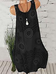 cheap -Women's Plus Size Daily Beach Shift Dress - Floral Print U Neck Black Fuchsia Blue S M L XL / Sexy