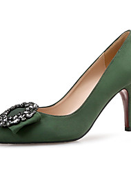 cheap -Women's Suede Spring & Summer Sweet / Minimalism Heels Stiletto Heel Pointed Toe Rhinestone Green / Almond / Party & Evening