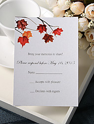 cheap -Flat Card Wedding Invitations 20 - Response Cards Floral Style Pearl Paper