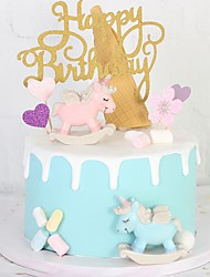 cheap -Cake Topper Classic Theme / Holiday / Unicorn Artistic / Retro / Unique Design ABS Resin Wedding / Birthday with Splicing 1 pcs OPP