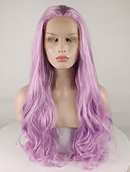 Недорогие -Синтетические кружевные передние парики Кудрявый Свободная часть Лента спереди Парик Длинные Фиолетовый Искусственные волосы 18-26 дюймовый Жен. Регулируется Кружева Жаропрочная Фиолетовый