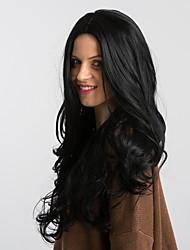 Недорогие -Парики из искусственных волос Блестящий завиток Стиль Боковая часть Без шапочки-основы Парик Черный как смоль Искусственные волосы 26 дюймовый Жен. Модный дизайн Новое поступление Природные волосы