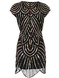 abordables -Gatsby Charleston Rétro Vintage Années 1920 Robe à clapet Costume de Soirée Femme Paillette Costume Noir Vintage Cosplay Soirée Retour Sans Manches