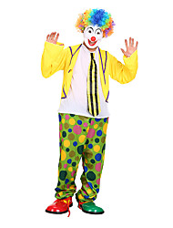 cheap -Burlesque Clown Circus Party Costume Adults' Men's Funny & Reluctant Halloween Christmas Halloween Carnival Festival / Holiday Polyster Yellow Carnival Costumes Polka Dot
