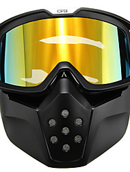 cheap -Motorcycle Helmet Yellow Lens Detachable Goggles Modular Face Mask Shield