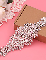 cheap -Silver-Plated Wedding / Party / Evening Sash With Imitation Pearl / Appliques / Crystals / Rhinestones Women's Sashes
