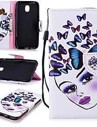 cheap -Case For Samsung Galaxy J7 (2017) Wallet / Card Holder / Shockproof Full Body Cases Butterfly / Sexy Lady Hard PU Leather